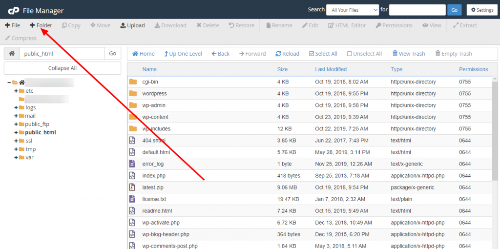 Membuat Folder Baru di File Manager CPanel